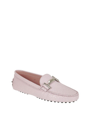 TOD'S: Mocassini e slippers online - Mocassini pelle stampa rettile rosa