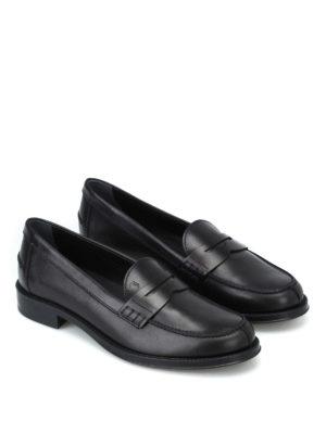 TOD'S: Mocassini e slippers online - Mocassini in pelle nera con fondo in gomma