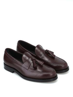 TOD'S: Mocassini e slippers online - Mocassino formale con nappine in pelle madera