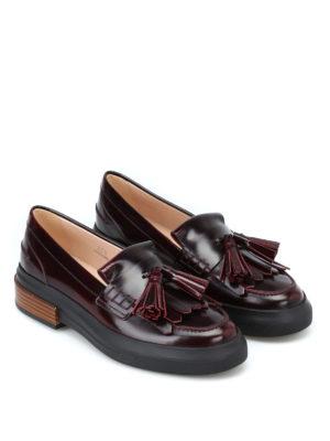 TOD'S: Mocassini e slippers online - Mocassini bordeaux spazzolati con nappe