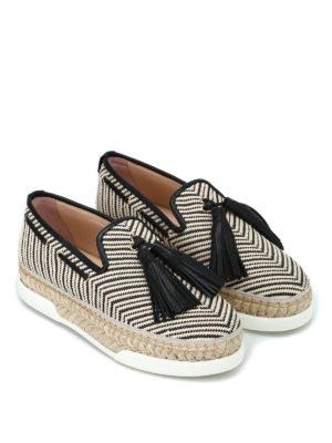 TOD'S: Mocassini e slippers online - Mocassini in rafia con nappine