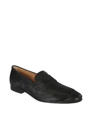 TOD'S: Mocassini e slippers online - Mocassini in camoscio nero con effetto used