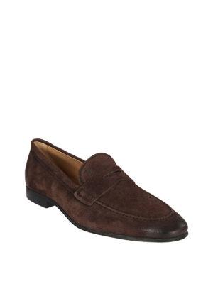 TOD'S: Mocassini e slippers online - Mocassini in camoscio marrone effetto used