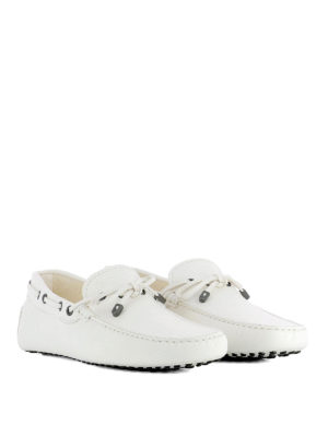 TOD'S: Mocassini e slippers online - Mocassini bianchi in pelle