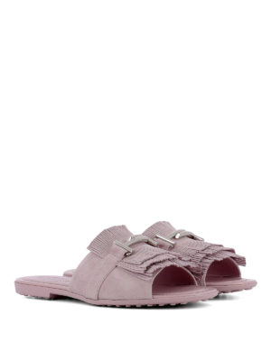TOD'S: sandali online - Sandali rosa Double T con frange