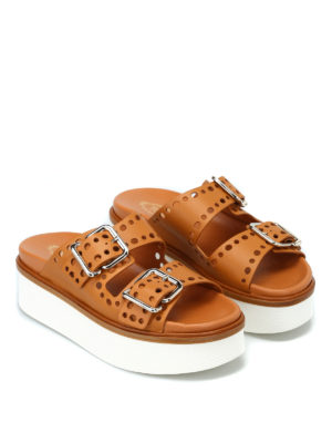 TOD'S: sandali online - Sandali flatform traforati cuoio