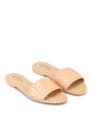 TOD'S: sandali online - Ciabattine in pelle con gommini