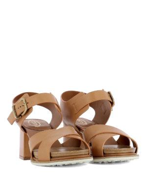 TOD'S: sandali online - Sandali con tacco in pelle liscia