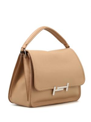 TOD'S: borse a spalla online - Tracolla Double T media beige