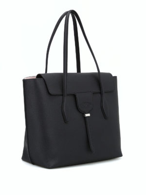 TOD'S: shopper online - Shopper Joy M in pelle a grana nera