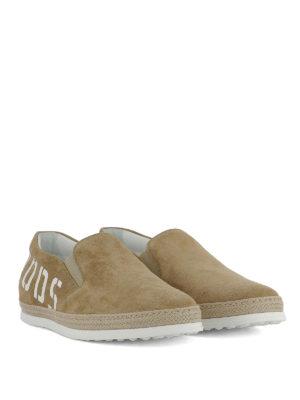 TOD'S: sneakers online - Slip-on in suede beige