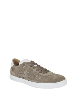 TOD'S: sneakers online - Sneaker in suede tortora con fori