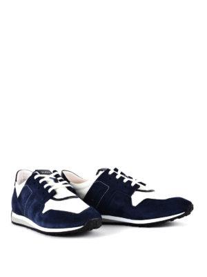 TOD'S: sneakers online - Sneaker in suede blu e tessuto