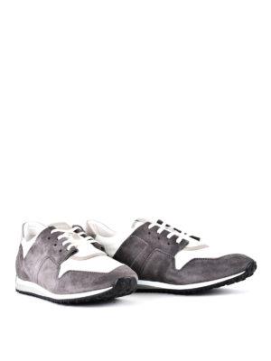 TOD'S: sneakers online - Sneaker in suede grigio e tessuto