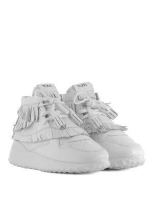 TOD'S: sneakers online - Sneaker alte in pelle con frange