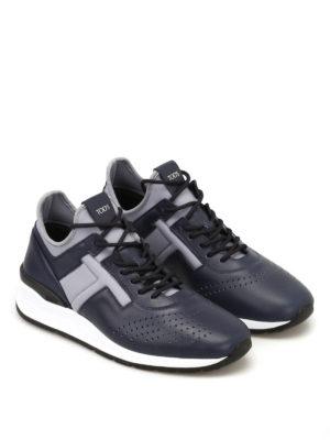 TOD'S: sneakers online - Sneaker blu in pelle e neoprene