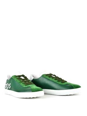 TOD'S: sneakers online - Sneaker in pelle verde con logo