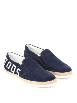 TOD'S: sneakers online - Slip-on in suede con maxi logo
