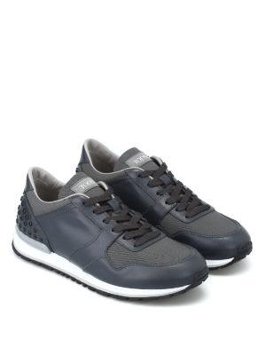 TOD'S: sneakers online - Sneaker pelle e tessuto con gommini