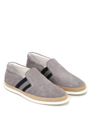 TOD'S: sneakers online - Slip-on in suede grigio con rafia