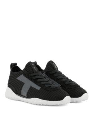 TOD'S: sneakers online - Sneakers in maglia a coste con T applicata