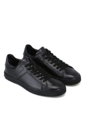 TOD'S: sneakers online - Sneaker in pelle nera con T ai lati