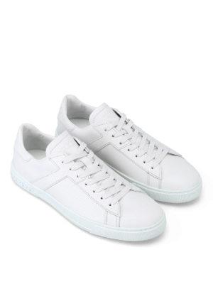TOD'S: sneakers online - Sneaker in pelle bianca con T ai lati