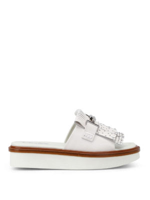 Tod'S: sandals - 23A double T leather slide sandals