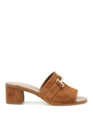 Tod'S: sandals - 38A double T suede slippers