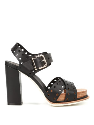 Tod'S: sandals - Black drilled leather heel sandals