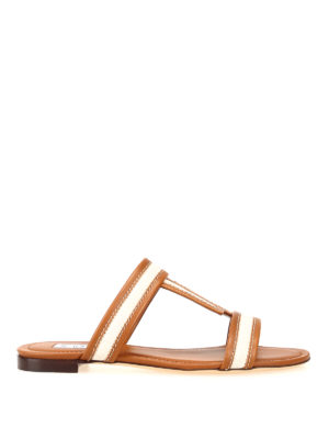 TOD'S: sandals - Cognac leather and canvas T sandals