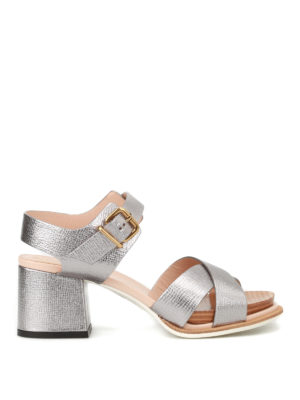 Tod'S: sandals - Crackle leather heeled sandals