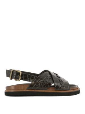 TOD'S: sandali - Sandali in pelle stampa cocco