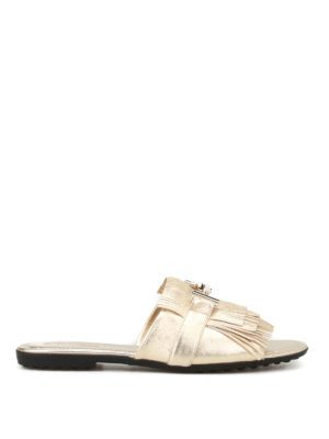 Tod'S: sandals - Double T fringed leather sandals