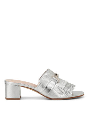 Tod'S: sandals - Double T silver leather sandals