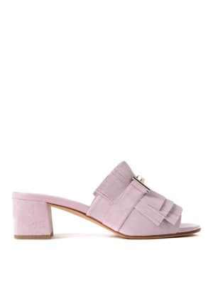 Tod'S: sandals - Double T suede pink sandals