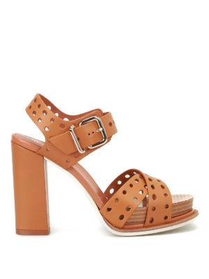 Tod'S: sandals - Drilled leather heeled sandals