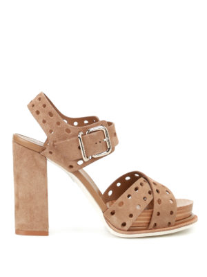 Tod'S: sandals - Drilled suede heeled sandals