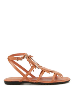 Tod'S: sandals - Fringed leather sandals with logo