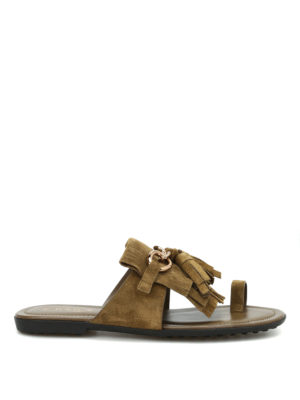 Tod'S: sandals - Fringed suede flat thong sandals