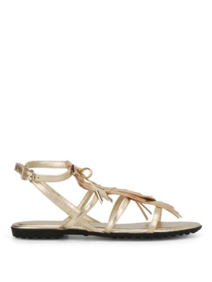 Tod'S: sandals - Gold leather fringed cage sandals