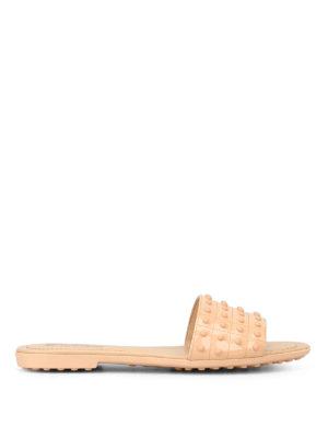 TOD'S: sandali - Ciabattine in pelle con gommini