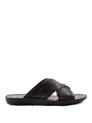 Tod'S: sandals - Leather slide sandals