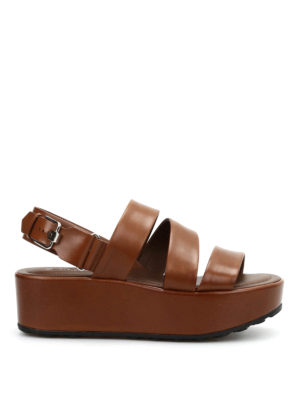 Tod'S: sandals - Leather wedges