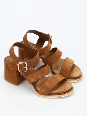 Tod'S: sandals online - 19A multi strap suede sandals