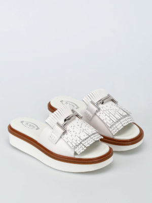 Tod'S: sandals online - 23A double T leather slide sandals