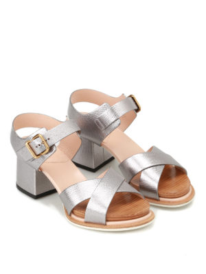 Tod'S: sandals online - Crackle leather heeled sandals
