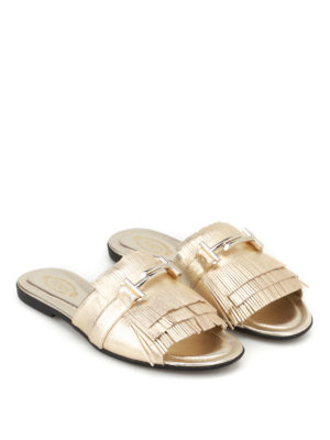 Tod'S: sandals online - Double T fringed leather sandals