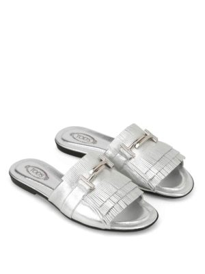 Tod'S: sandals online - Double T fringed silver sandals