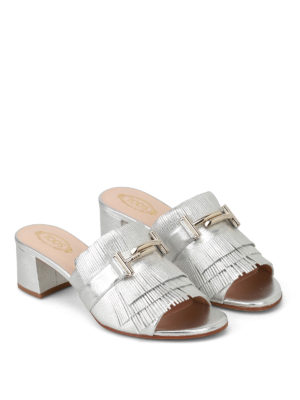 Tod'S: sandals online - Double T silver leather sandals